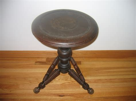 Adjustable Wooden Piano Stool by Antique Eastlake Wooden Swivel Adjustable Piano Stool Item
