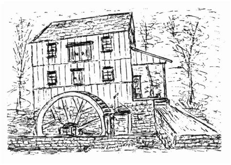 Water View House Plans old saw mill drawing by william lowenkamp