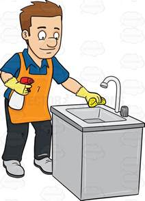 cleaning kitchen a man polishing the kitchen sink cartoon clipart
