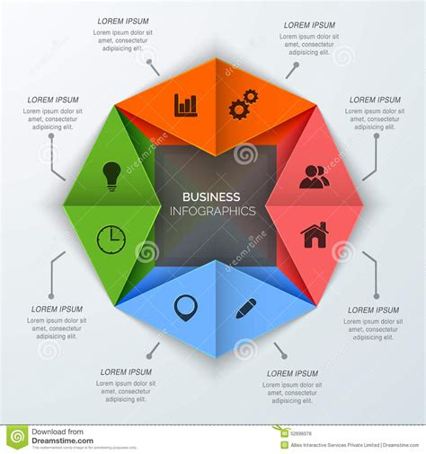 Business Origami - origami business infographic design with web icons stock