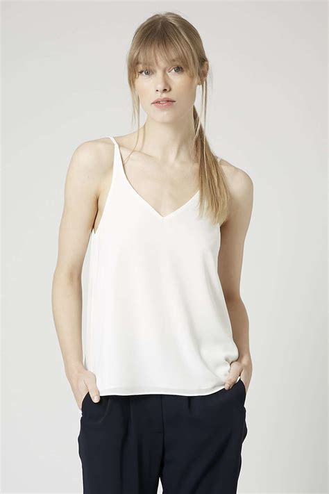 Vs Topshop by Topshop Plunge V Neck Cami In White Lyst