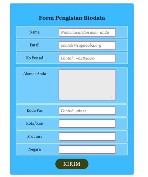 membuat form dengan html5 membuat form formulir biodata dengan css 3 dan html 5