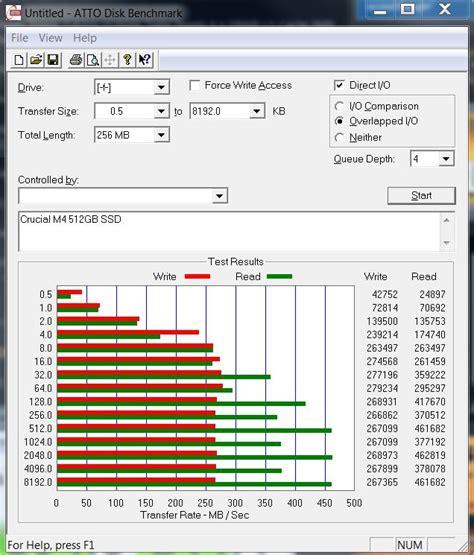 atto disk bench crucial m4 512gb sata 3 ssd review atto disk benchmark