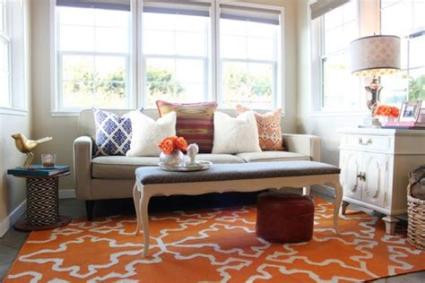 orange rugs for living room geometric area rugs make a statement without saying a word