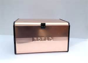 vintage bread box copper bronze styled with roll shelf