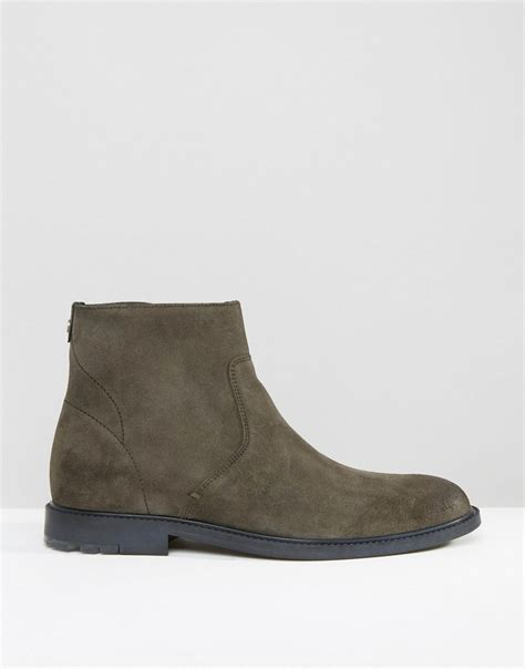 Sepatu Boot Safety Caterpillar Zipper Green Army orange by hugo culroot suede zip boots in green for lyst