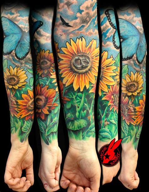garden tattoo designs sunflower sleeve best home decorating ideas