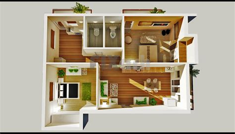 Two Bedroom House Interior Design 2 Bedroom House Plans Designs 3d Small House Artdreamshome Artdreamshome