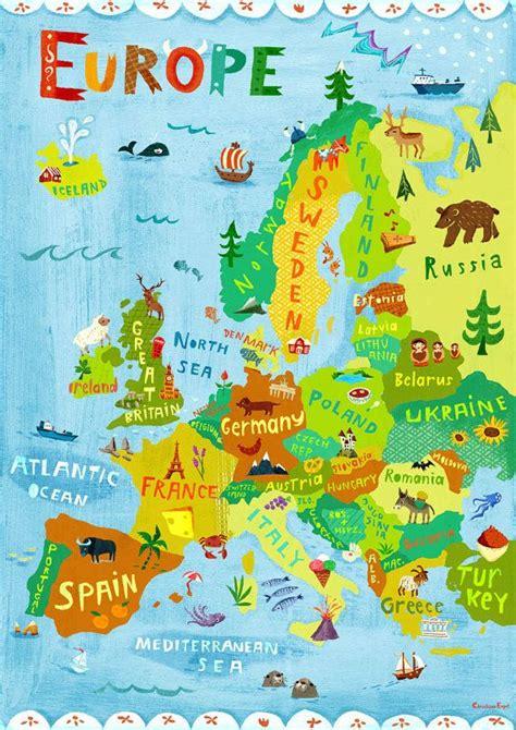 Digitaldruck Deutschland by Europe Map Illustration Digital Print Poster Kids Room