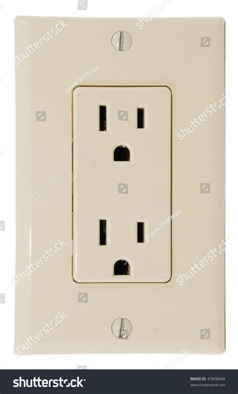 modern wall outlets modern wall plate three prong grounded stock photo