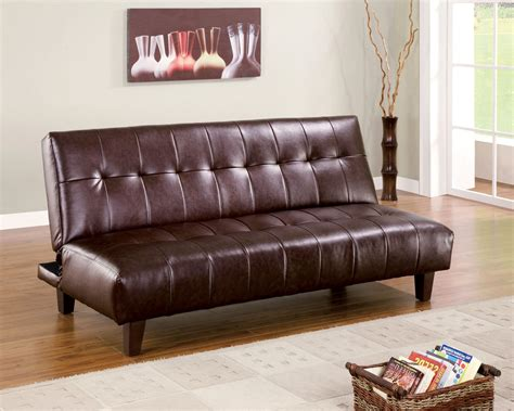 quality futons brown leatherette sofa bed chaise lounge futon high