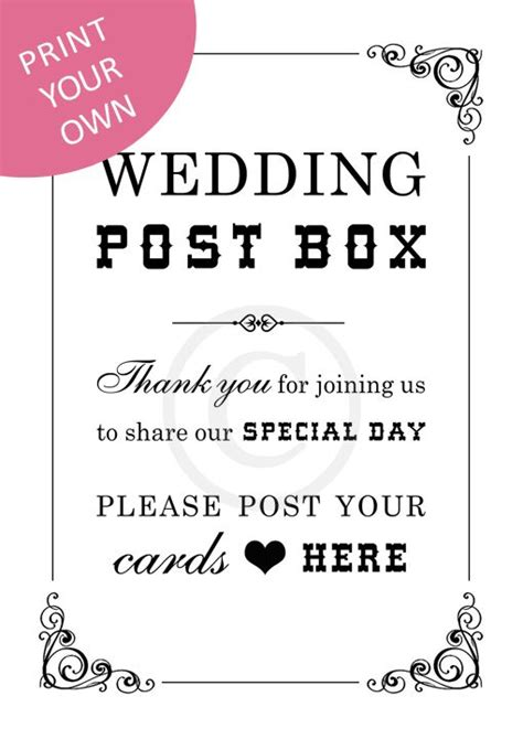 wedding card box sign template 25 best ideas about wedding post box on post