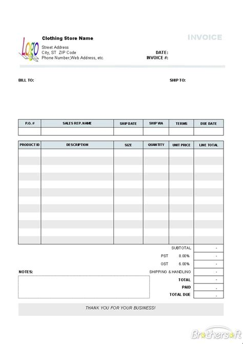 quickbooks invoice templates free invoice template ideas