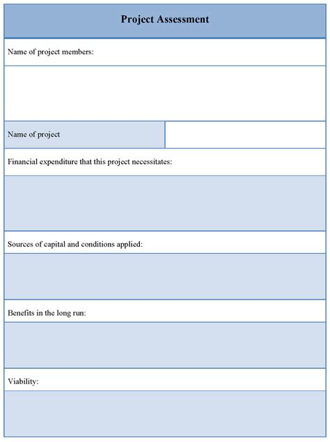 Assessment Template assessment template for project exle of project