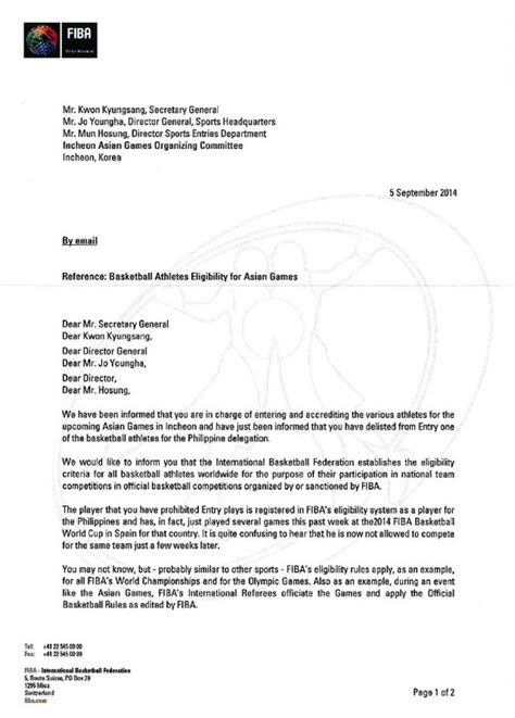 Endorsement Letter From Dean Blatche Still Barred From Asiad Despite Fiba Endorsement Sports News The Philippine