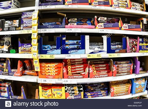 Shelf Of Biscuits by Shelves Of Biscuits On Display In A Tesco Supermarket