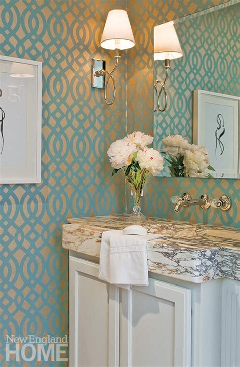 wallpaper powder room metallic wallpaper turns a powder room into a jewel box