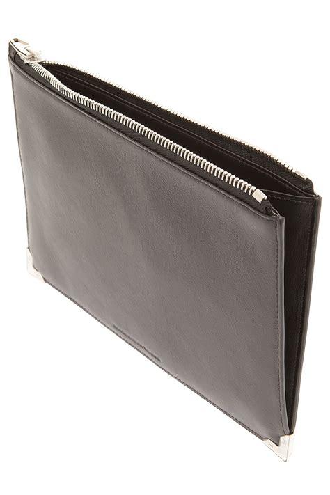 flat clutch wang prisma flat pouch clutch bag in gray lyst