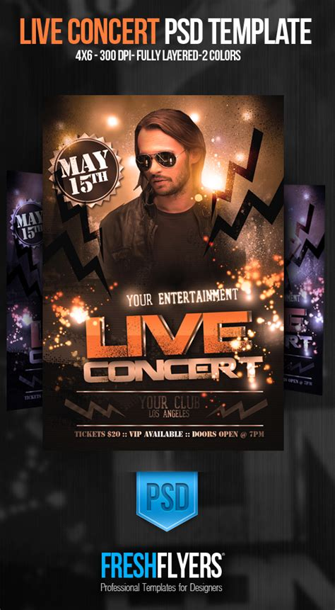 Live Concert Psd Flyer Template By Imperialflyers On Deviantart Live Poster Template