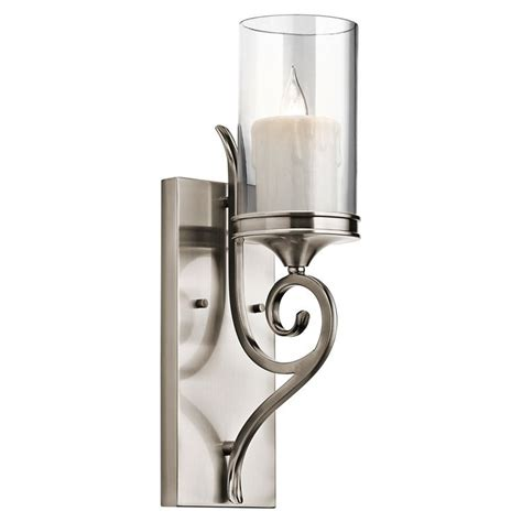 Silver Wall Sconce Candle Holder Kichler Lighting 45362clp Lara 1 Light Wall Sconce Classic Pewter Finish With Clear Outside And