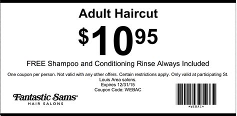 haircut coupons ta fantastic sams coupon 10 95 adult haircut beauty