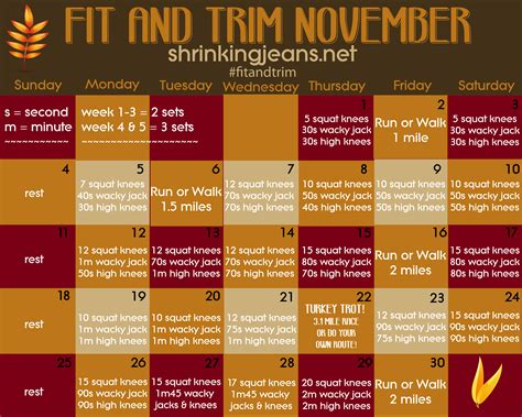 Monthly Workout Calendar Fit And Trim November A Monthly Fitness Calendar