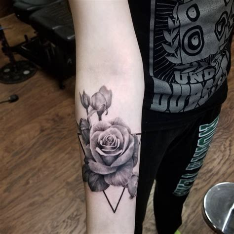 dark age tattoo realistic black and grey by tattoos