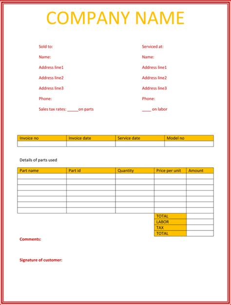 free simple invoice template word 5 service invoice templates for word and excel 174