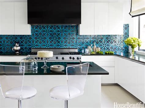 Blue Kitchen Tiles Ideas Modern White Kitchen With Mediterranean Teal Black Tile Back Splash Kitchen Blue Teal Tile