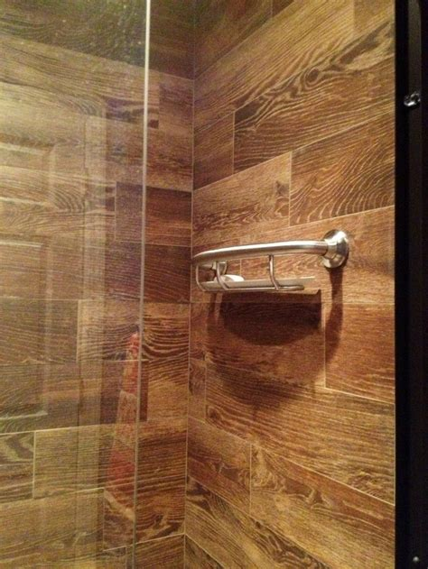 porcelain wood tile bathroom wood tile shower soap stand house ideas pinterest