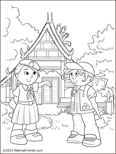 thailand girl guide coloring page makingfriendsmakingfriends