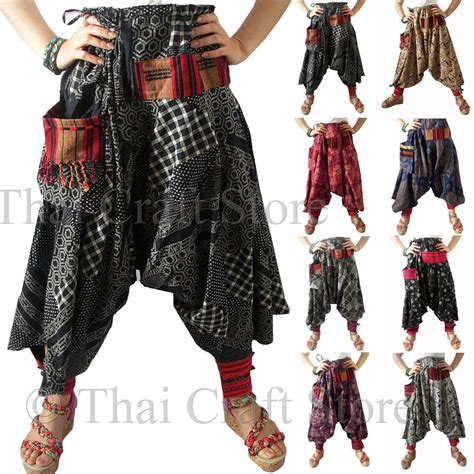 Harem drop crotch patterned trousers pants gypsy hippie aladdin hmong men womens ebay