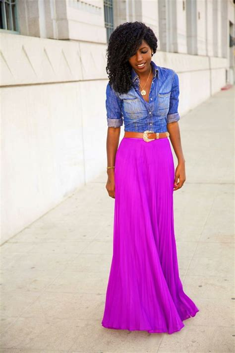 Maxi Stefanie Top N Skirt how to wear a maxi skirt chambray chambray top and bright