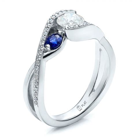 custom blue sapphire and engagement ring 100056