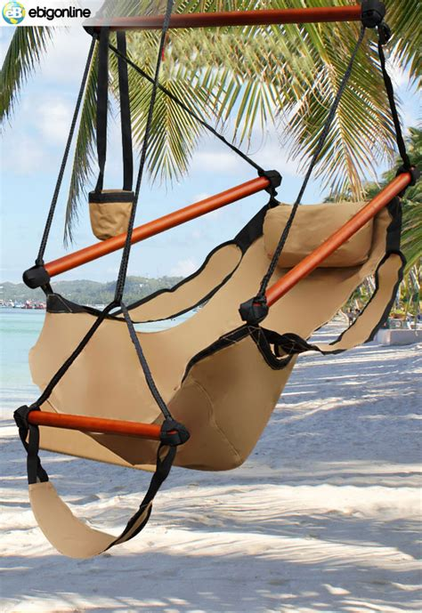 sky swing chair deluxe hanging air sky swing hammock chair outdoor tan ebay