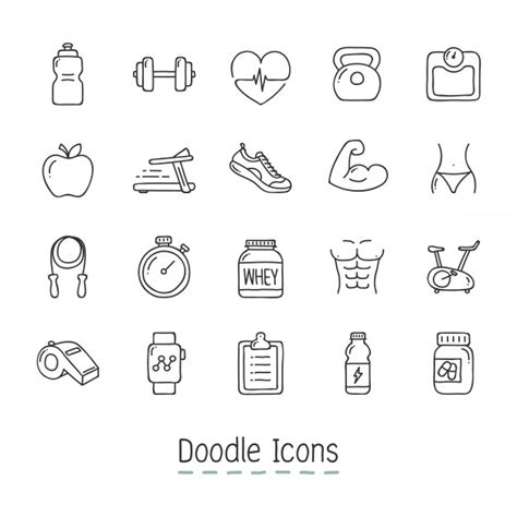 doodle icons free vectors doodle health and fitness icons vector free