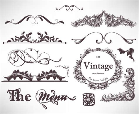 vintage menu design elements vector set set of vintage pattern menu design vector 5 vector sources