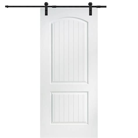 Closet Door Kits Mmi Door 36 In X 80 In Primed Santa Fe Smooth Surface Solid Door With Barn Door Hardware