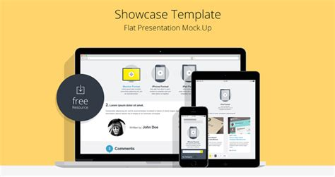 Flat Responsive Showcase Psd Psd Web Elements Pixeden Website Presentation Template