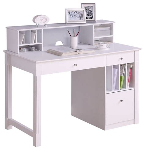 Walker Edison Deluxe Solid Wood Desk With Hutch In White Modern Desk Hutch