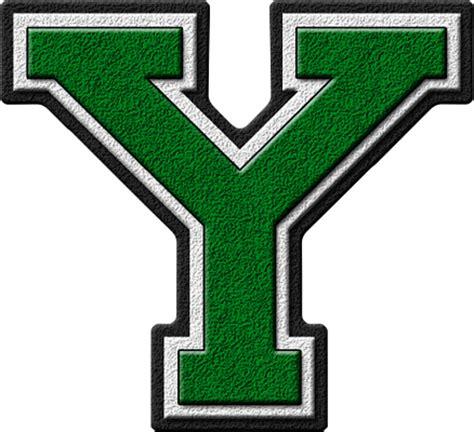 presentation alphabets green varsity letter y