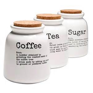 description tea coffee and sugar storage canisters