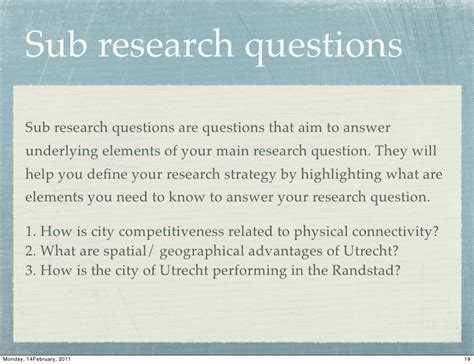 sub questions for research paper sub research questions sub research