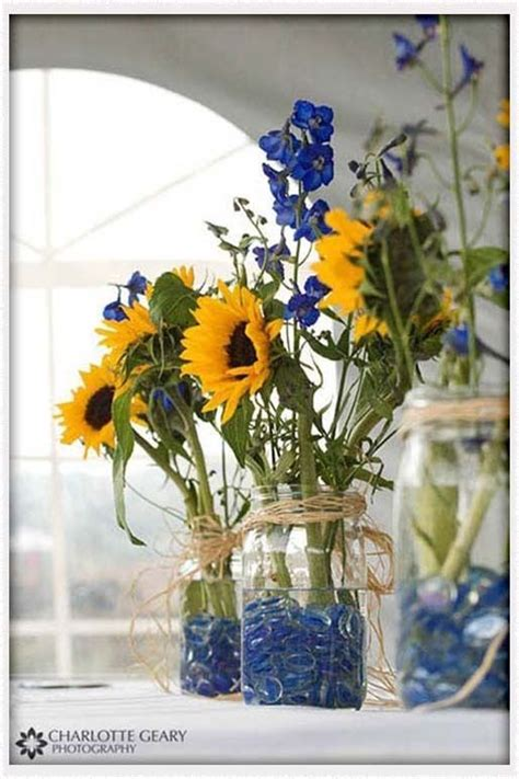 cobalt blue and yellow wedding wedding ideas sunflower
