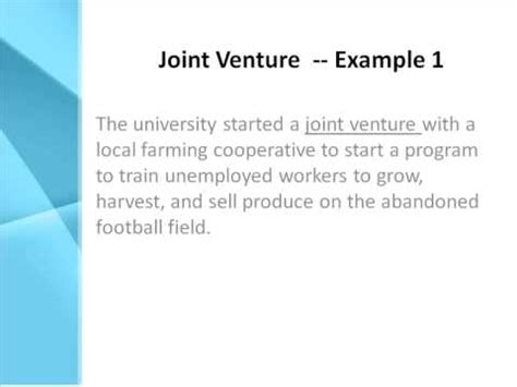 exle of joint venture joint venture definition what does joint venture