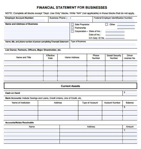 finance forms templates sle business financial statement form 6