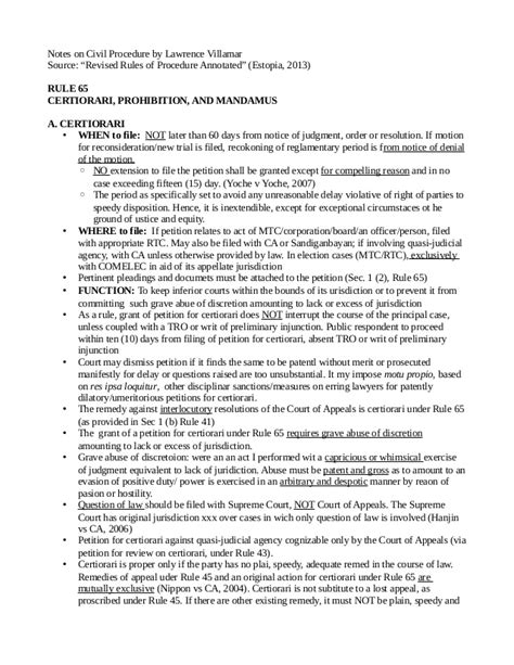 Sle Petition Certiorari Rule 65 on civil procedure rule 65 certiorari