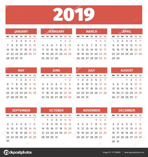 Calendario 2019 Italiano Modelo De Calend 225 2019 Vetores De Stock 169 123sasha