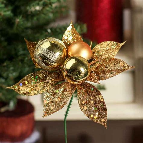 hessian gold poinsettia picks gold glitter poinsettia picks florals and winter crafts