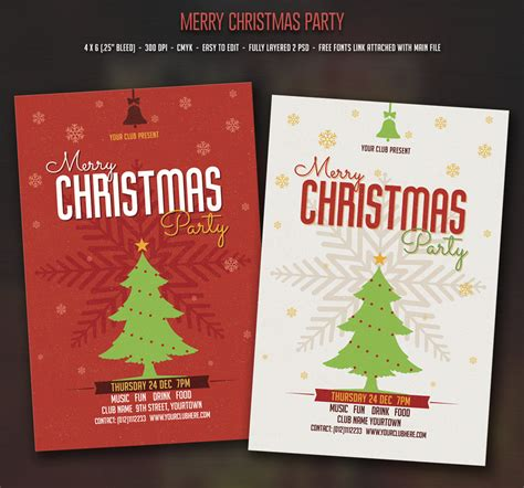 christmas party flyer templates on creative market